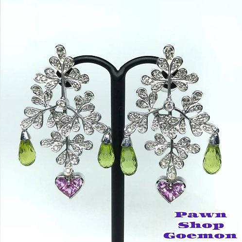 ピンクサファイア ペリドット ダイヤモンド WGK18 ピアス