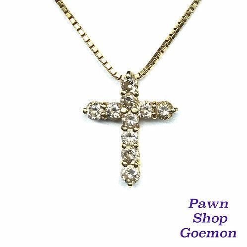 ダイヤモンド 1.01ct K18 クロス ネックレス