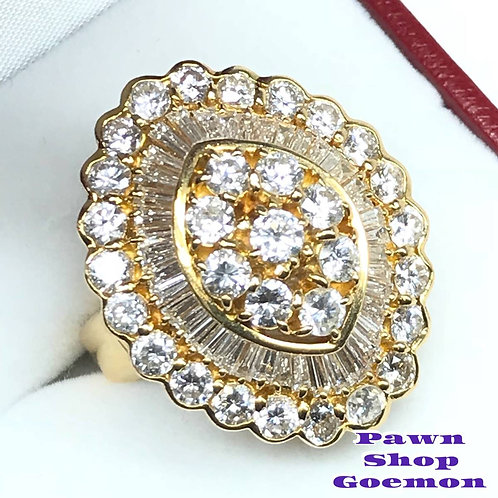 ダイヤモンド 5.09ct YGK18 イエローゴールドリング 13号