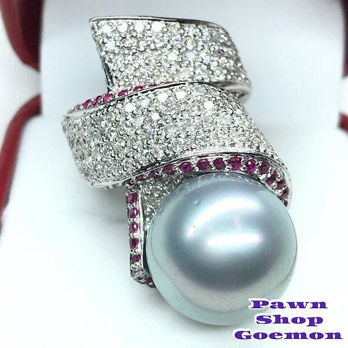 黒蝶真珠 ダイヤモンド1.95ct ルビー1.00ctPT900リング