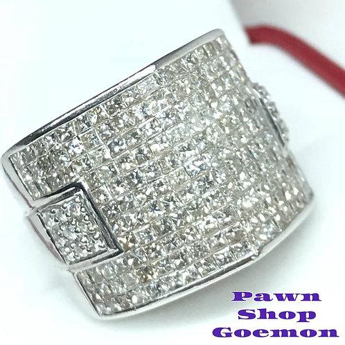ダイヤモンド 3.45ct WGK18ホワイトゴールド リング 11号