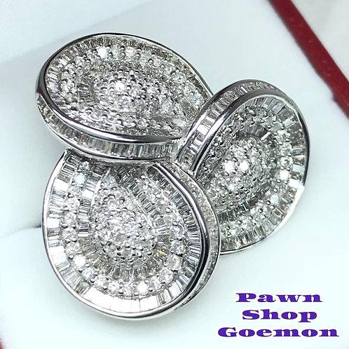 ダイヤモンド 3.45ct WGK18 ホワイトゴールドリング 12号