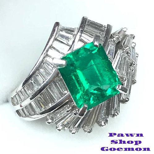 エメラルド 1.89ct ダイヤモンド 1.50ct ptリング11号