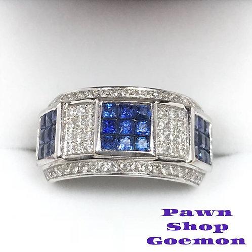 ブルーサファイア 1.10ct ダイヤモンド WGK18リング 11号