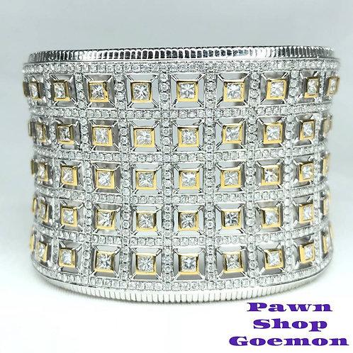 ダイヤモンド 20.25ct WGK18 ホワイトゴールド バングル