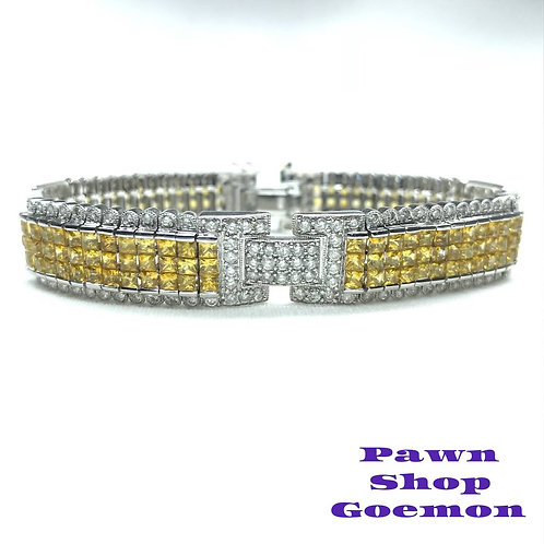 イエローサファイア ダイヤモンド WGK18 ブレスレット