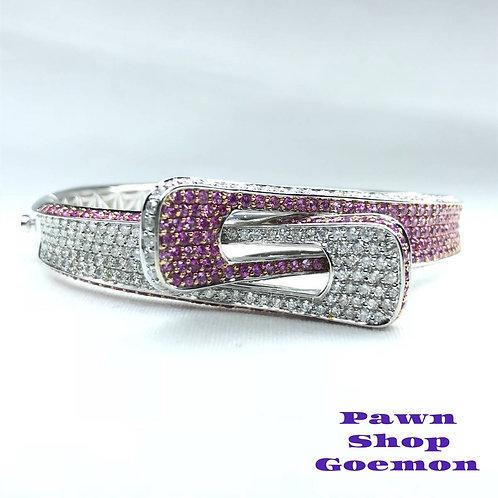 ピンクサファイア3.70ct ダイヤモンド2.85ct WG バングル