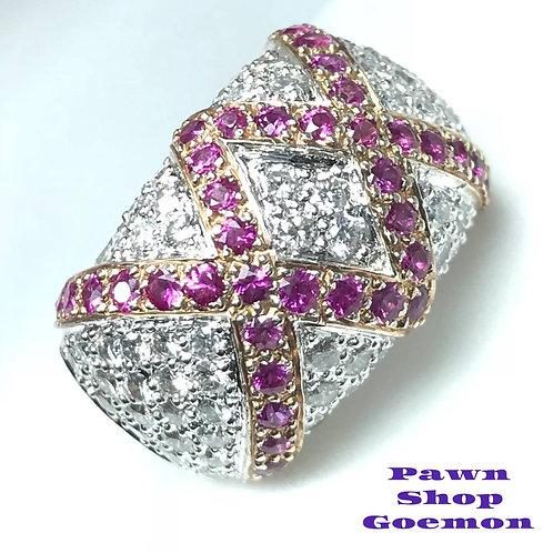 ピンクサファイア1.4ct ダイヤモンド1.84ct WGK18リング