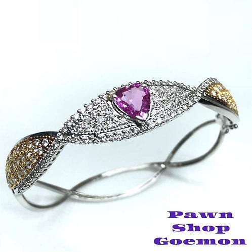 ピンクサファイア1.67ct ダイヤモンド1.858ct ブレスレット