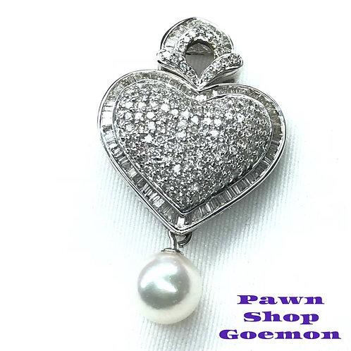 ダイヤモンド1.70ct アコヤ真珠 ホワイトゴールドネックレストップ