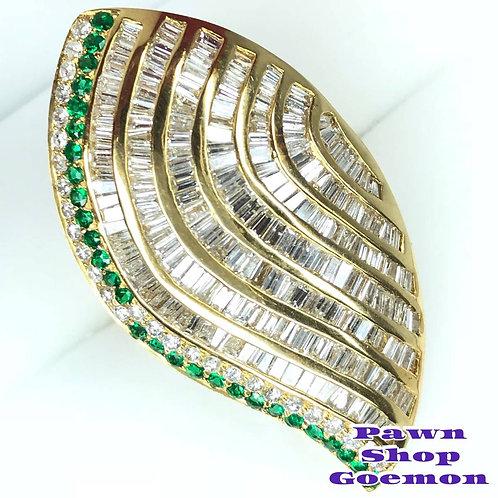 エメラルド0.44ct ダイヤモンド3.43ct K18YG リング
