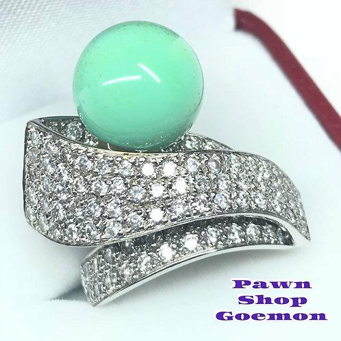 トルコ石 ダイヤモンド2.00ct ホワイトゴールド リング 14号