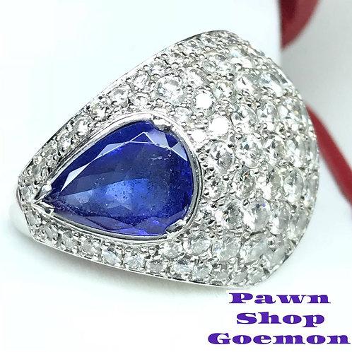 タンザナイト3.00ct ダイヤモンド3.178ct PT900リング