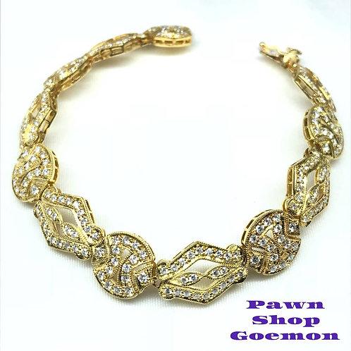 ダイヤモンド 3.93ct YGK18 イエローゴールド ブレスレット