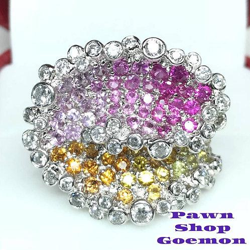 サファイア(ピンク・オレンジ・イエロー)ダイヤモンド PT900リング