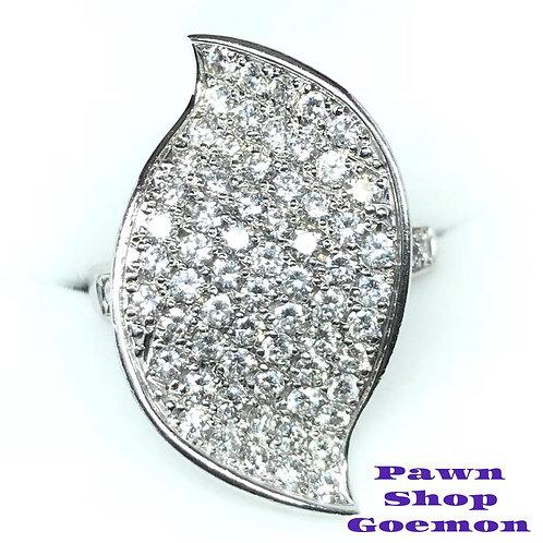 ダイヤモンド1.75ct K18WG ホワイトゴールドリング 12号