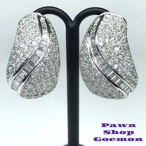 ダイヤモンド 3.46ct WGK18 ホワイトゴールド ピアス