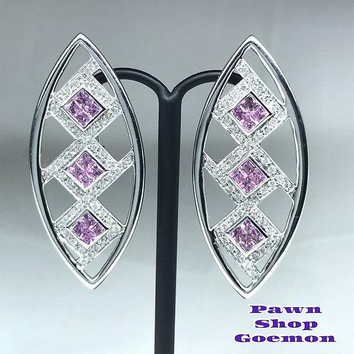 ピンクサファイア 2.33ct ダイヤモンド WGK18 ピアス