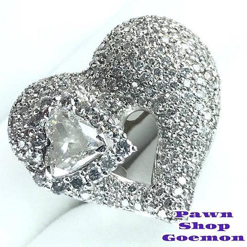 ダイヤモンド 一粒ダイヤ2.004ct メレダイヤ3.50ct リング