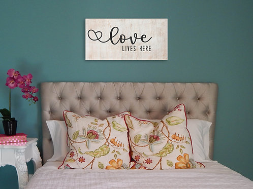 """""""Love lives here"""" wood sign"""