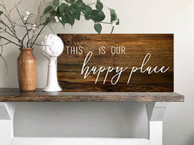 """This is our happy place"" wood sign"
