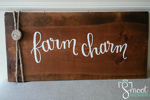 Farm charm wooden sign