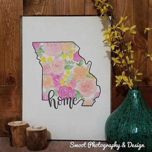 Missouri floral wood sign