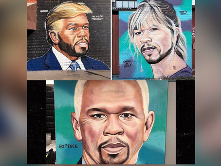 50 Cent Reacts to Street Murals Portraying Him as Donald Trump & More