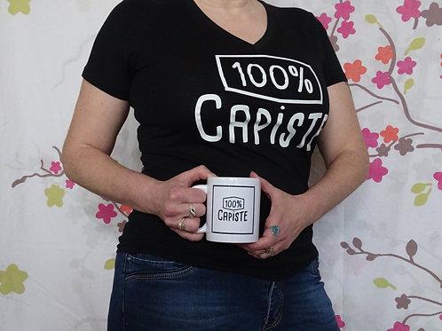 """T-shirt femme, col V, """"100 % Capiste"""