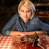 Host Courtney Rada with the beef ribs at