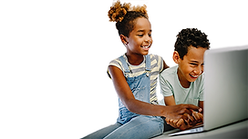 african american boy and girl on laptop