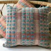 POTTERGATE No.1 Duckegg-Terracotta-Blush Square cushion SOLD OUT