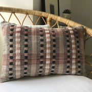 YORKERSGATE No.1 Slate-Stone-Blush-Mint  This handwoven bolster cushion is from our 'Townhouse' collection inspired by Georgian architecture.  Front panel - Handwoven Textile Back Panel:  Plain Cotton Fabric  One-of-a-kind piece.  £85.00 - cushion cover only