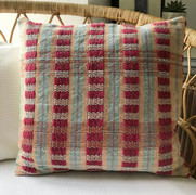 BURGATE No.1 Fuchsia-Turquoise-Sunshine  This handwoven square cushion is from our 'Townhouse' collection inspired by Georgian architecture.  Front panel - Handwoven Textile Back Panel:  Plain Cotton Fabric  One-of-a-kind piece.  £70.00 - cushion cover only