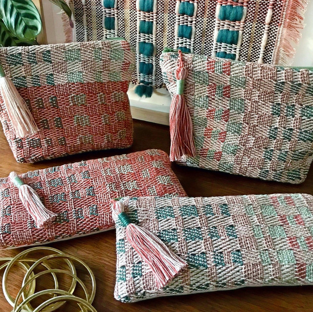 'WOVEN IN BRICKS'  A limited-edition collection of handwoven pouches.  Available from my Etsy Shop. Link below.