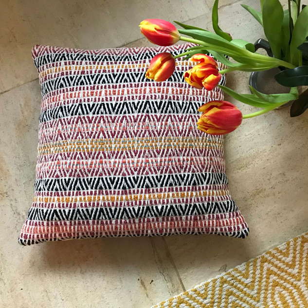 SUNSET STRIPE Hand-woven cushion Wool and Cotton  Front Panel:  Handwoven Textile Back panel:  Linen Cotton twill with a fine slub texture Cushion pad:  Cotton casing with polyester supersoft padding  Limited Edition Design Only one available £78.00  Co-ordinates with Railings Sunset cushions.  Featured in The Yorkshire Post Magazine.  March 2020  Please email if you would like to place an order.