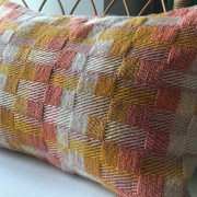 HELMSLEY  Nectar - Coral - Whisper  Limited Edition Collection handwoven using available yarns in my weaving studio.  £95.00 each with British wool cushion insert