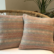 RIEVAULX CUSHIONS  Sold out  Hand-woven cushions in an intricate design and soft colour palette inspired by the ancient stonework of Rievaulx Abbey in North Yorkshire.  Handwoven with wool and cotton yarns. Reverse panel constructed in plain cotton linen fabric. £70.00 each cushion cover only  Featured in The Yorkshire Post Magazine.  March 2020  Available to purchase from my shop.  Link below.