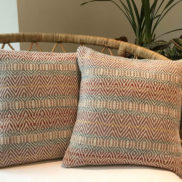 RIEVAULX CUSHIONS  Hand-woven cushions in an intricate design and soft colour palette inspired by the ancient stonework of Rievaulx Abbey in North Yorkshire.  Handwoven with wool and cotton yarns. Reverse panel constructed in plain cotton linen fabric.  Limited Edition. Only two available. £70.00 each cushion cover only £80.00 each cushion pad included  Featured in The Yorkshire Post Magazine.  March 2020  Available to purchase from my shop.  Link below.
