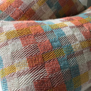 HELMSLEY  Duckegg - Coral - Whisper - Pink Limited edition bolster cushions handwoven in a contemporary design inspired by architecture in Yorkshire market towns.  Front panel - Handwoven Textile - Wool & Cotton Back Panel:  Plain Cotton Linen Fabric  Limited Edition Collection  £85.00 each - cushion cover only