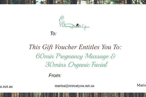60mins Pregnancy Massage & 30mins Organic Facial