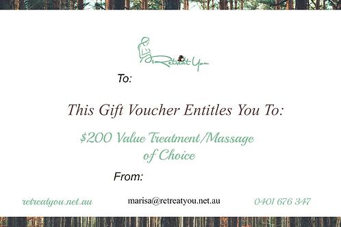 $200 value Treatment/Massage of Choice Gift Voucher