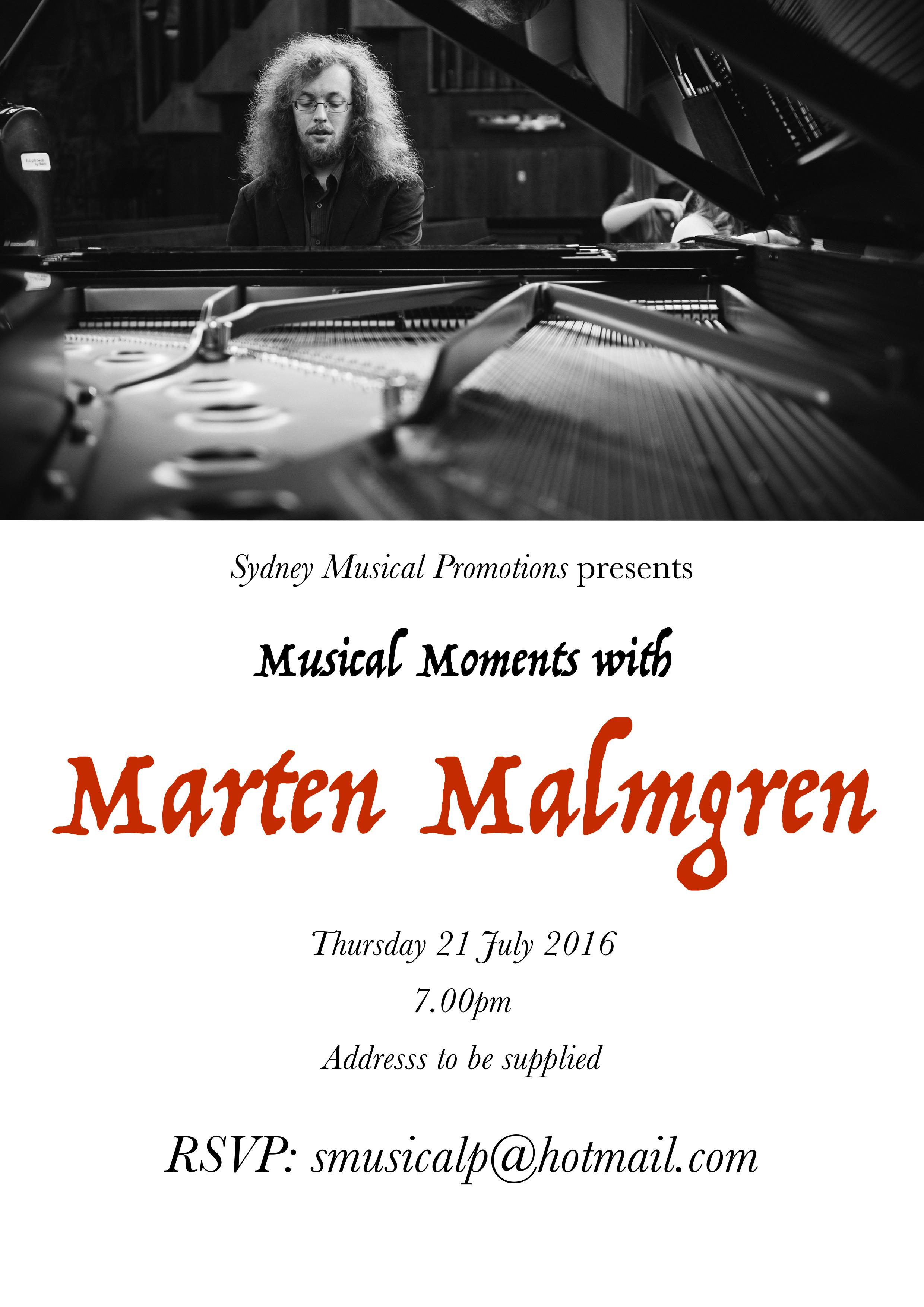 Musical Moments with Marten Malmgren