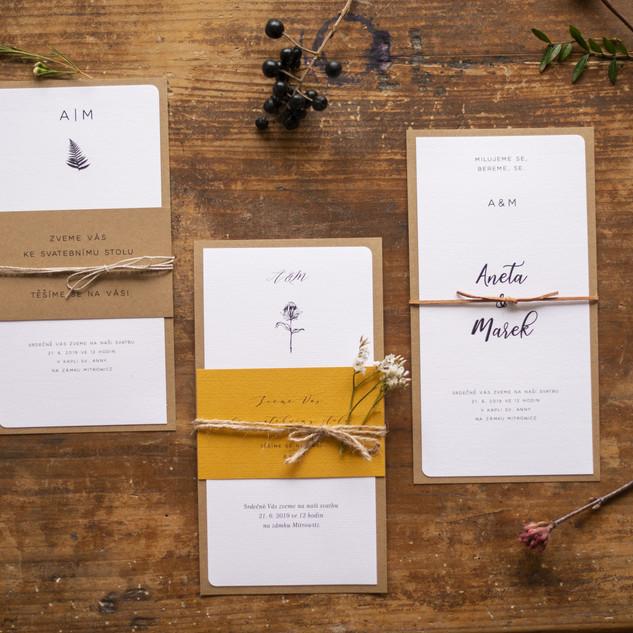 Svatební pozvánky, programy, menu a více