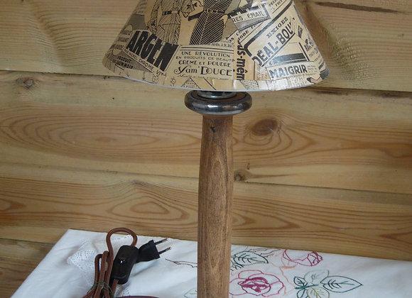 Lampe bobine et son abat-jour vintage