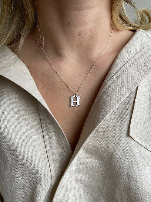 Large H Sterling Silver Charm Necklace