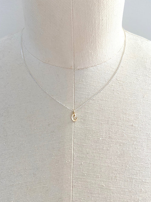 C Small Cursive Gold Charm Sterling Silver Chain Necklace