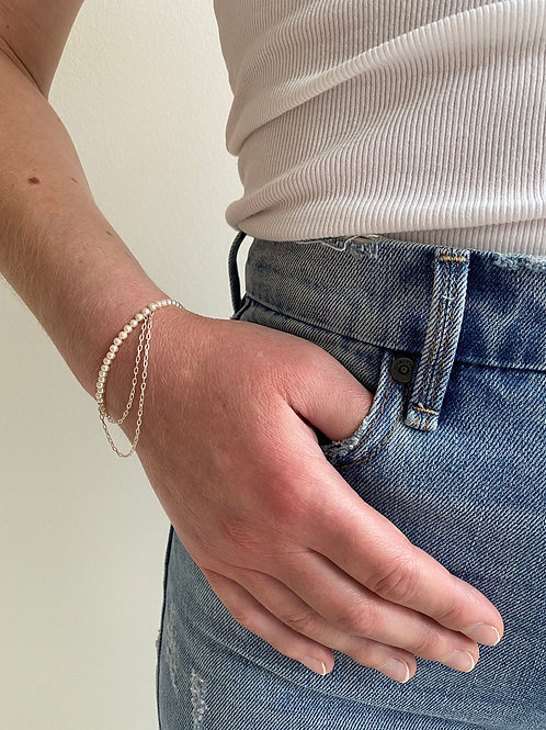 Franca Mini Beaded Sterling Silver  Draped Bracelet