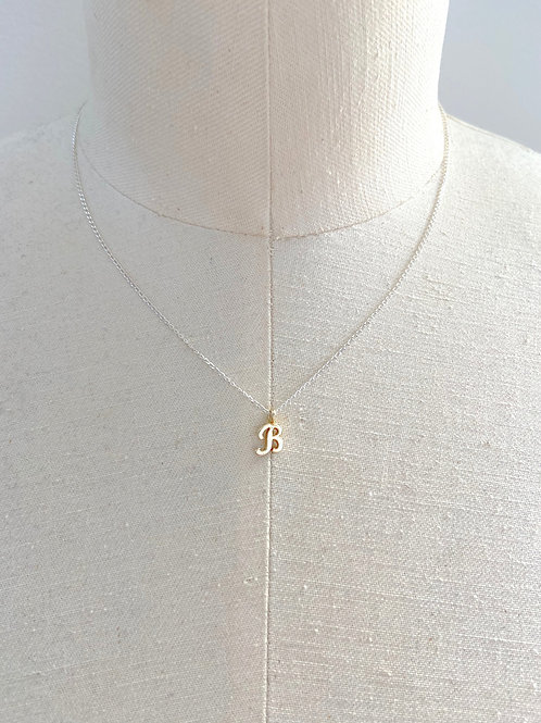 B Small Cursive Gold Charm Sterling Silver Chain Necklace