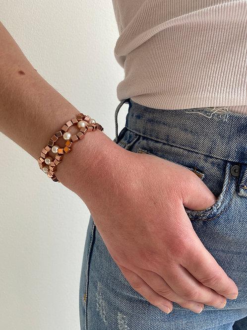 Chiara Rose Gold Pearl Bracelet